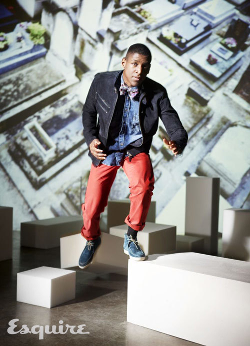 Musician Labrinth is wearing suede