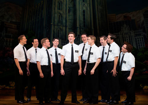 Gavin-Creel-(Elder-Price,-centre),-Jared-Gertner-(Elder-Cunningham,-right)-and-the-cast-of-The-Book-of-Mormon